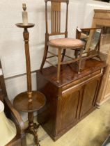 A mahogany skeleton frame toilet mirror, width 56cm, an Edwardian inlaid side chair and a beech