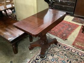 A William IV mahogany card table, width 97cm, depth 48cm, height 73cm
