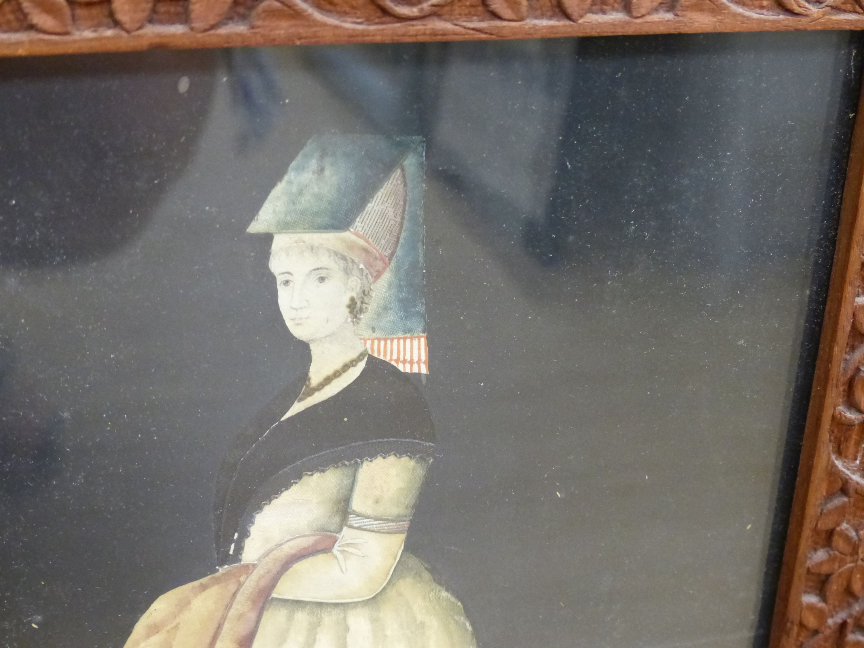 An early 19th century painted silk and gilt metal portraitdepicting a young woman wearing - Image 3 of 7