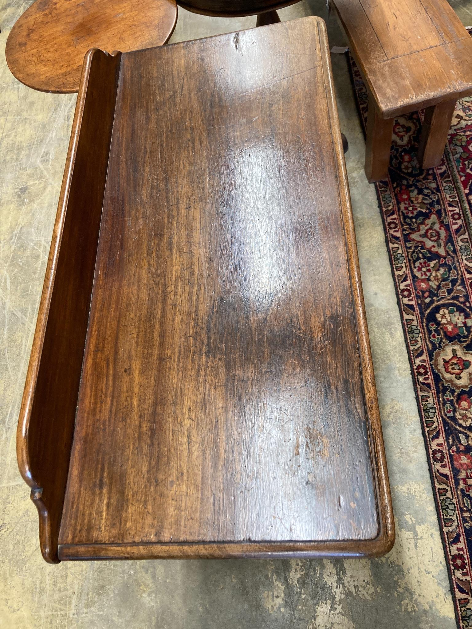 A Victorian mahogany writing tablefitted two small drawers on turned tapered legs, length 106cm, - Image 2 of 6