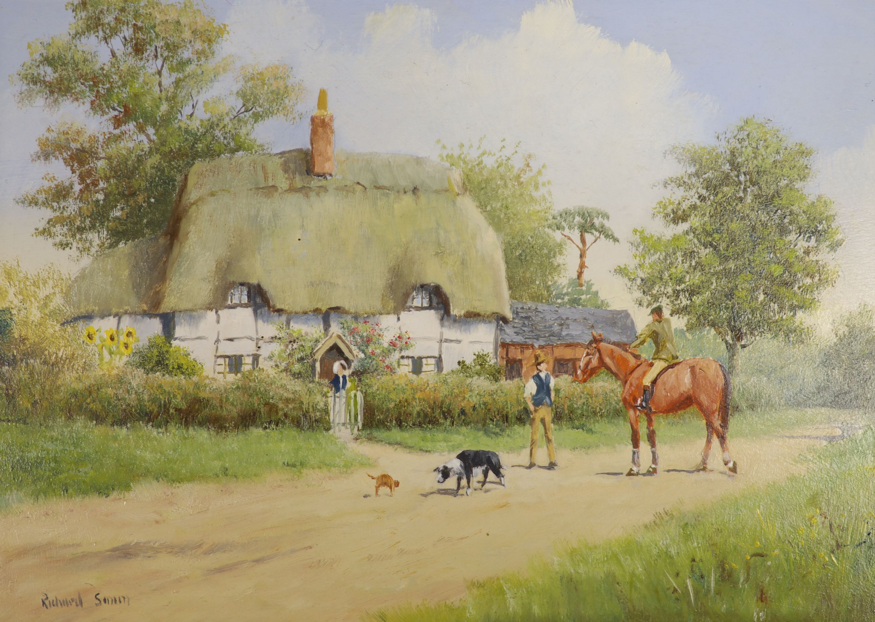 Richard Rhead Simm (b.1926), oil on panel, Figures beside a thatched cottage, signed, 12 x 17cm
