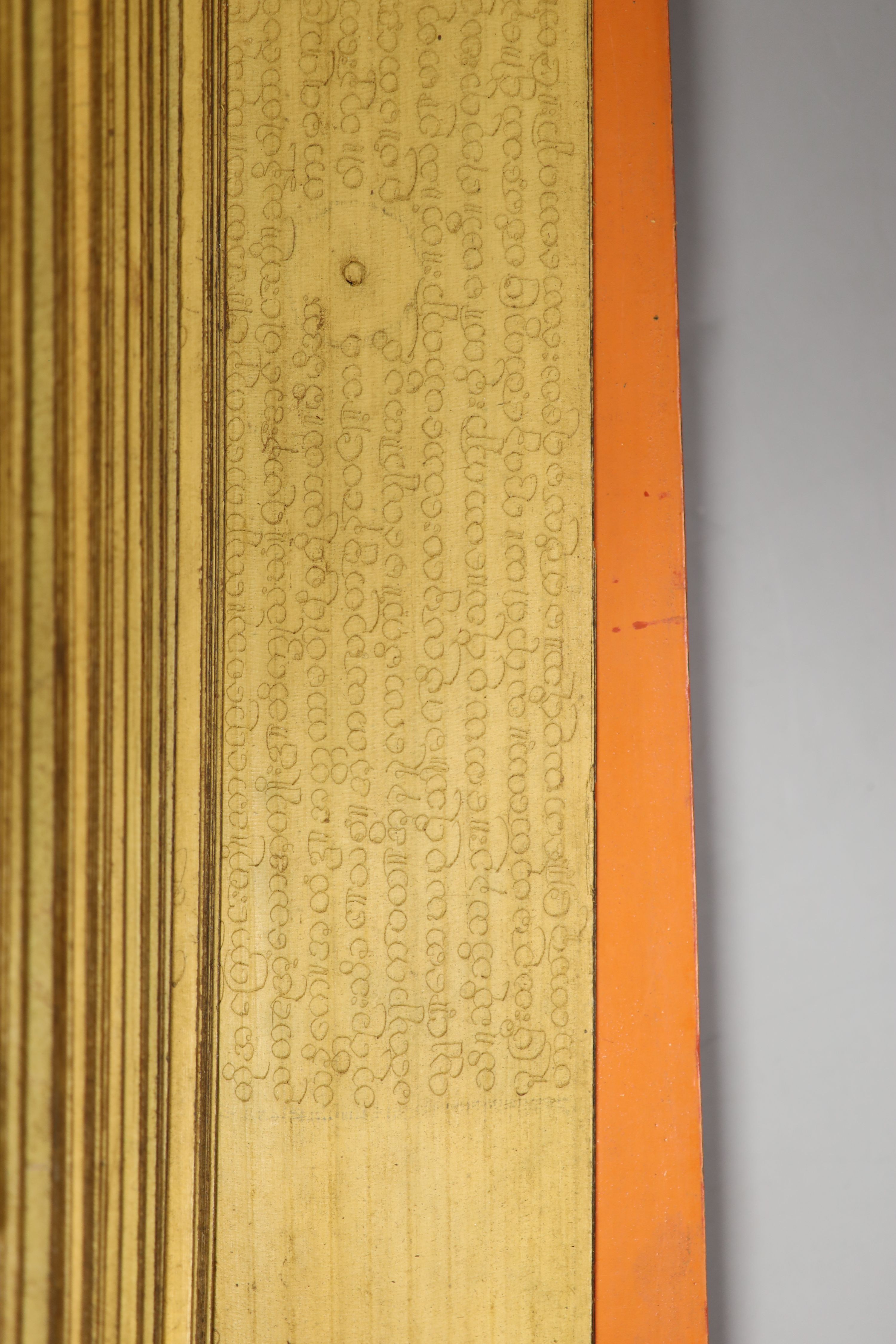 Three 19th century Burmese lacquered Sutra manuscripts, each written in Pali on bamboo leaves, gold - Image 5 of 5