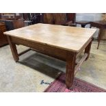 A 19th century rectangular pine two drawer kitchen table, width 169cm, depth 117cm, height 79cm