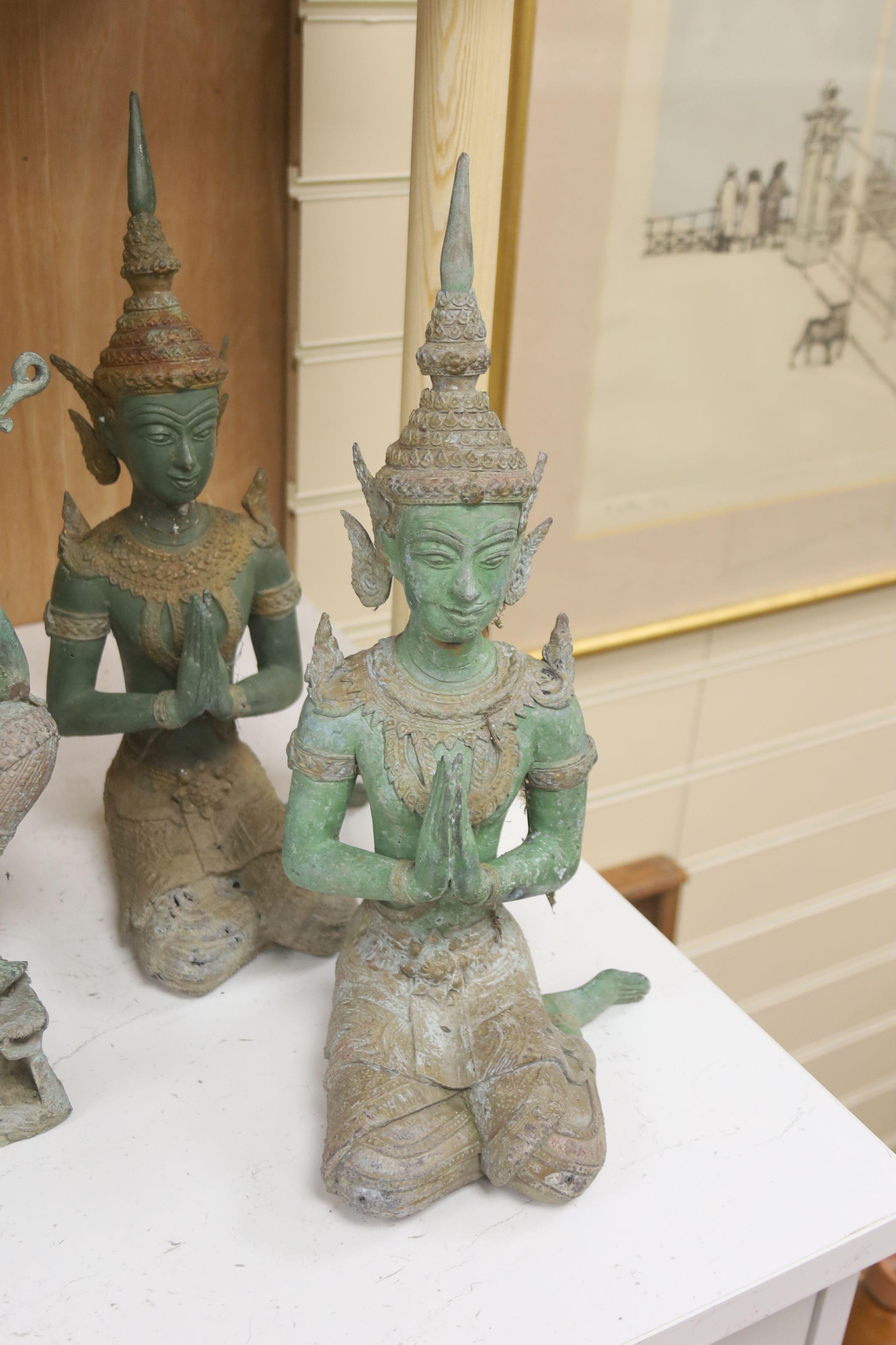 Four 20th century Thai bronze Buddhas, tallest 58cm - Image 2 of 4