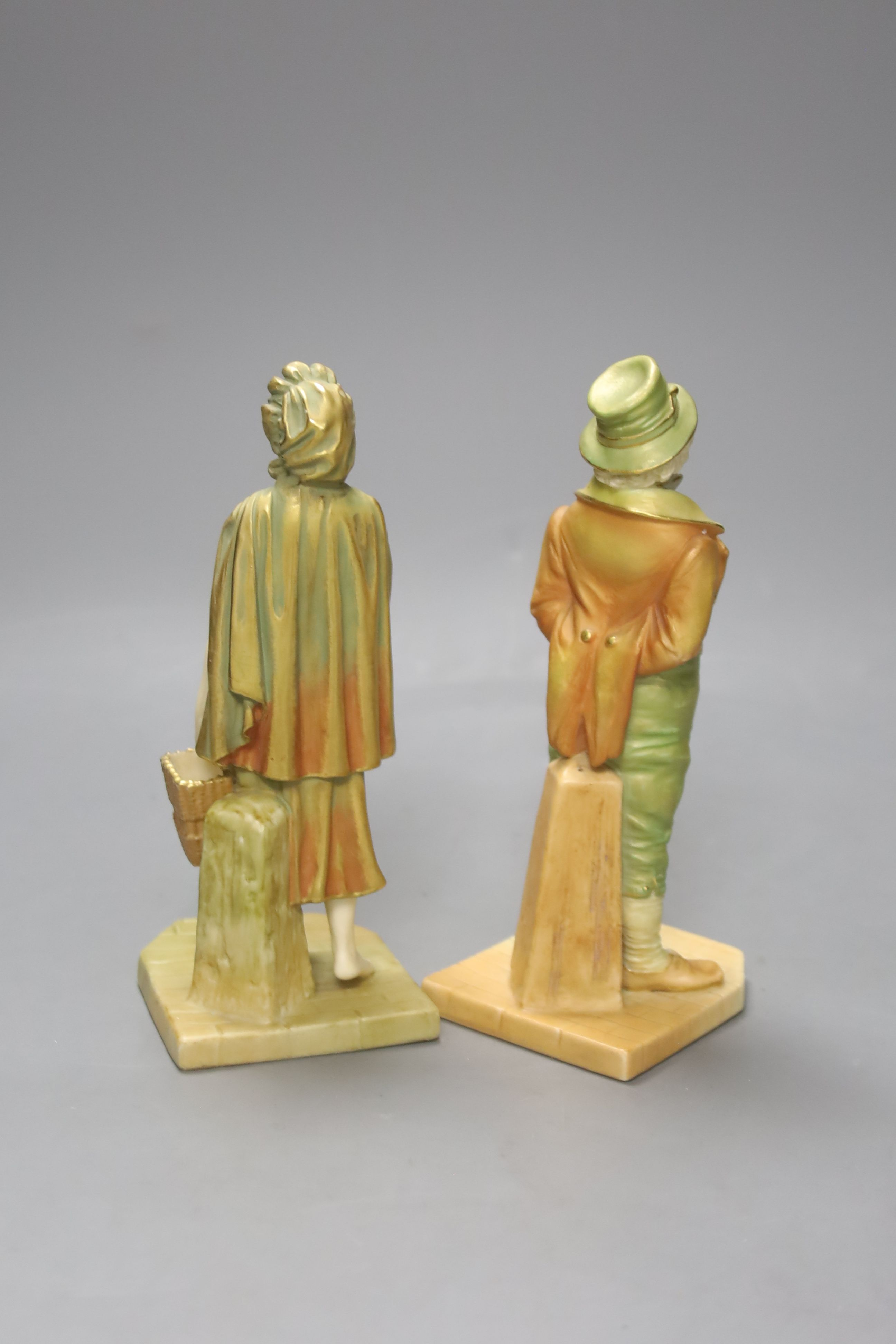 A pair of Royal Worcester blush figures of an Irishman and Irish girl, height 17cm - Image 2 of 3