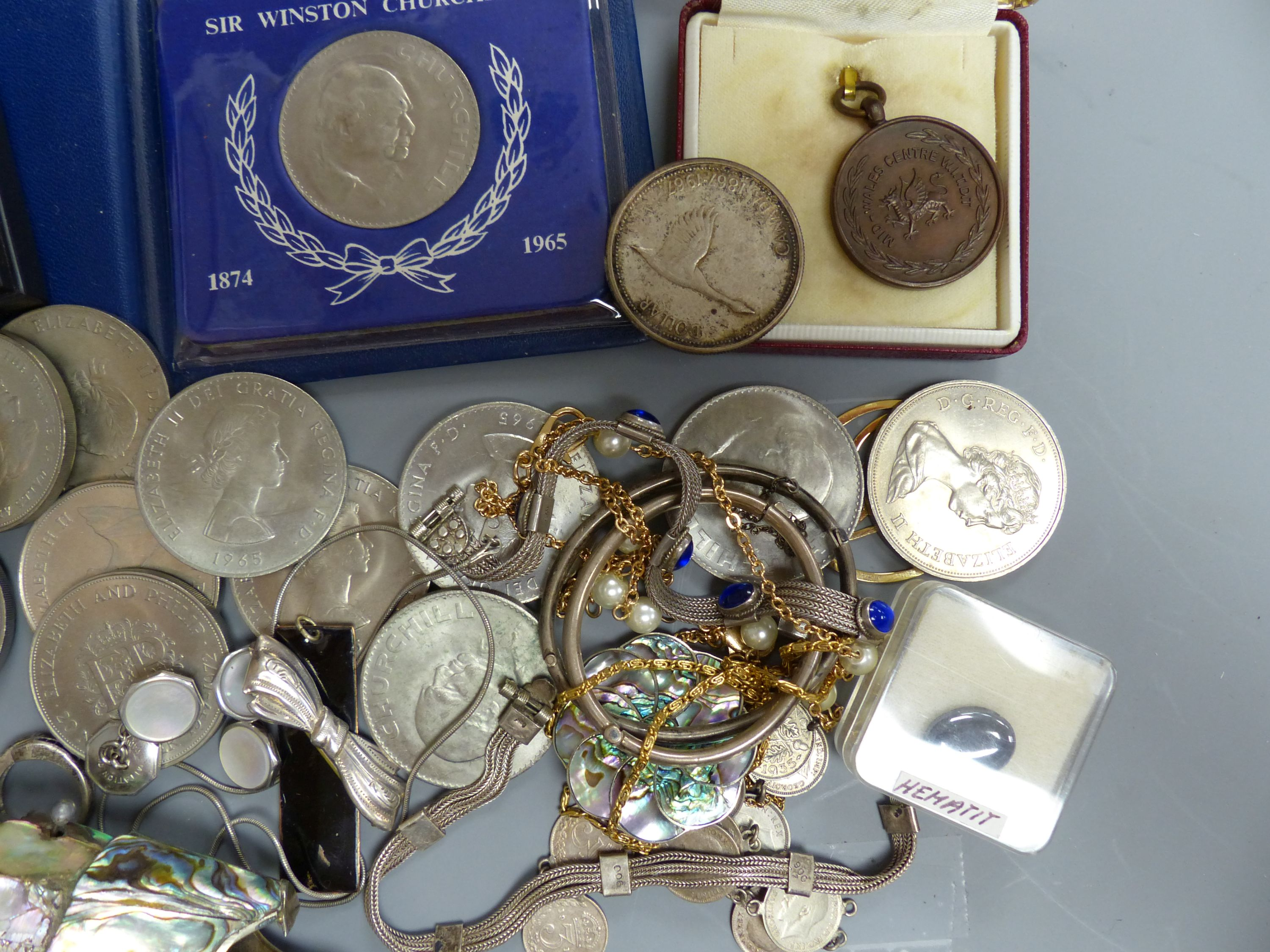 A quantity of mixed costume jewellery, an articulated fish, coins etc - Image 3 of 5