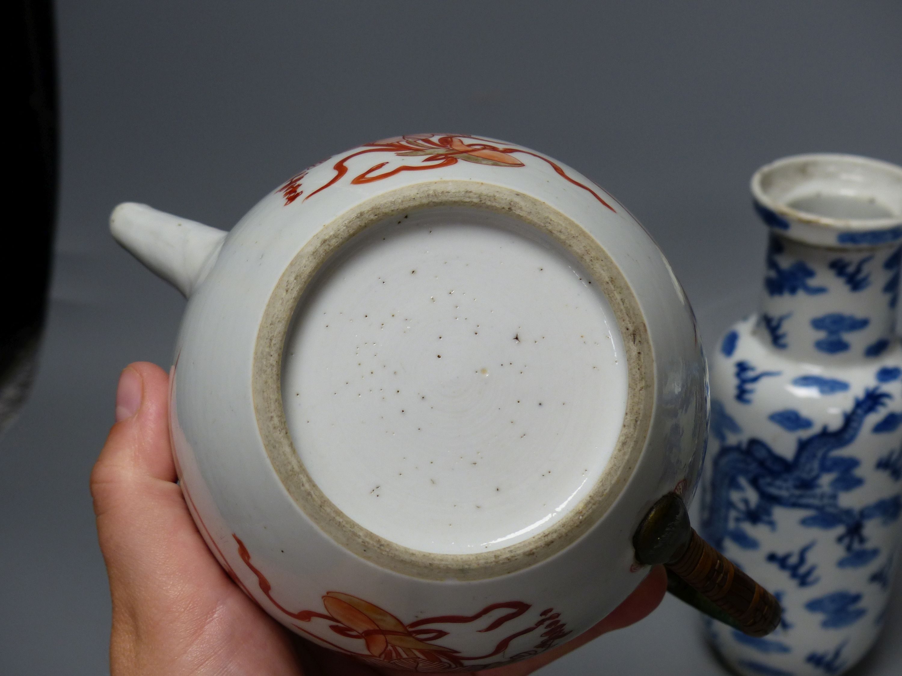A 19th century Chinese blue and white covered jug, an early 20th century blue and white vase and a - Image 4 of 6