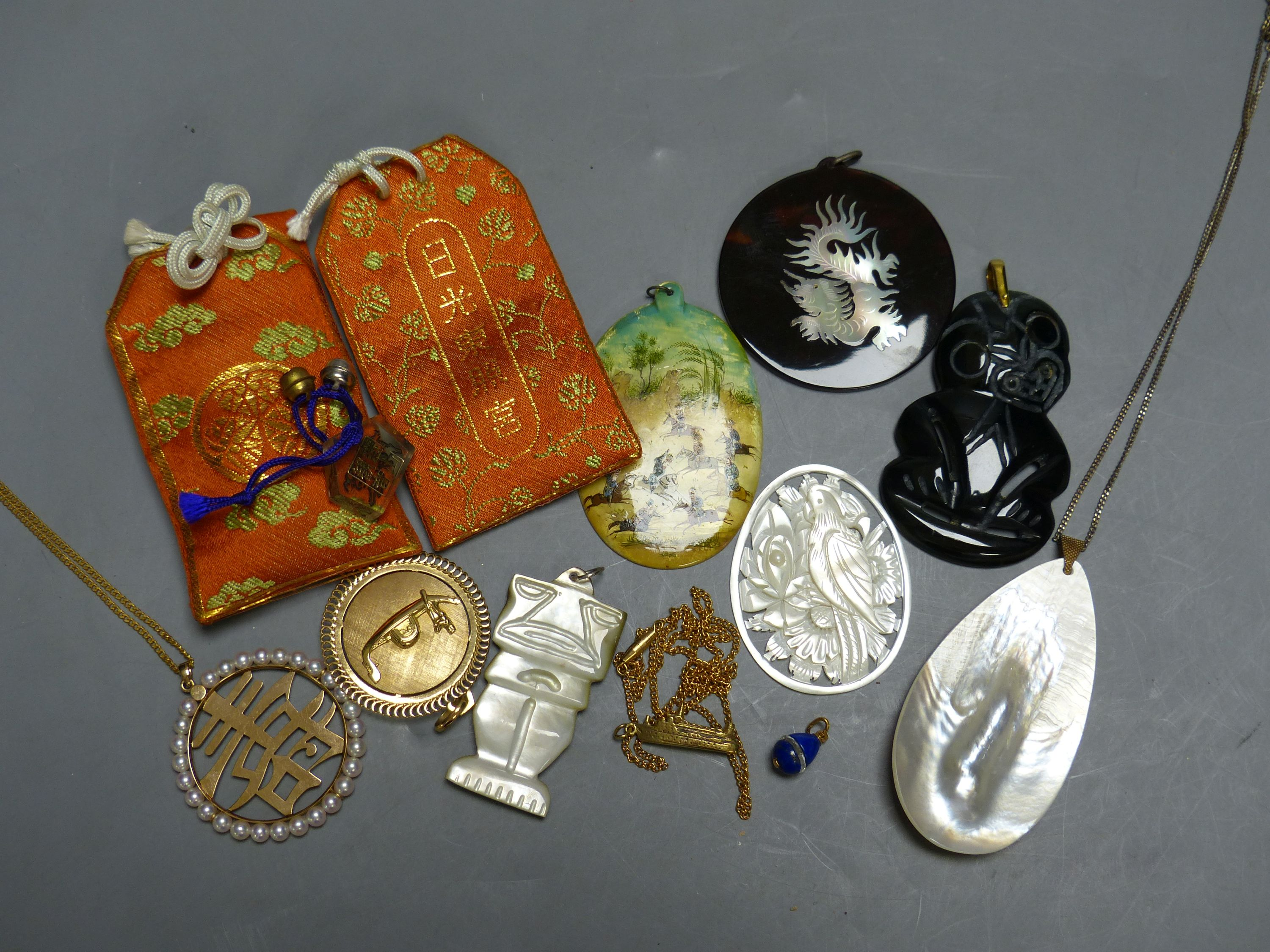 Miscellaneous decorative items, including a Mughal oval miniature on mother of pearl of polo - Image 2 of 5
