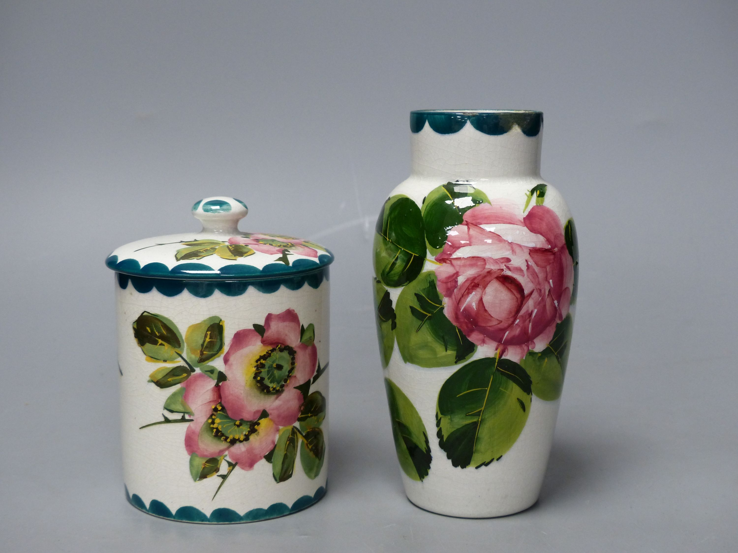 A Wemyss cabbage rose vase and an apple blossom sugar pot, tallest 16cm - Image 4 of 5