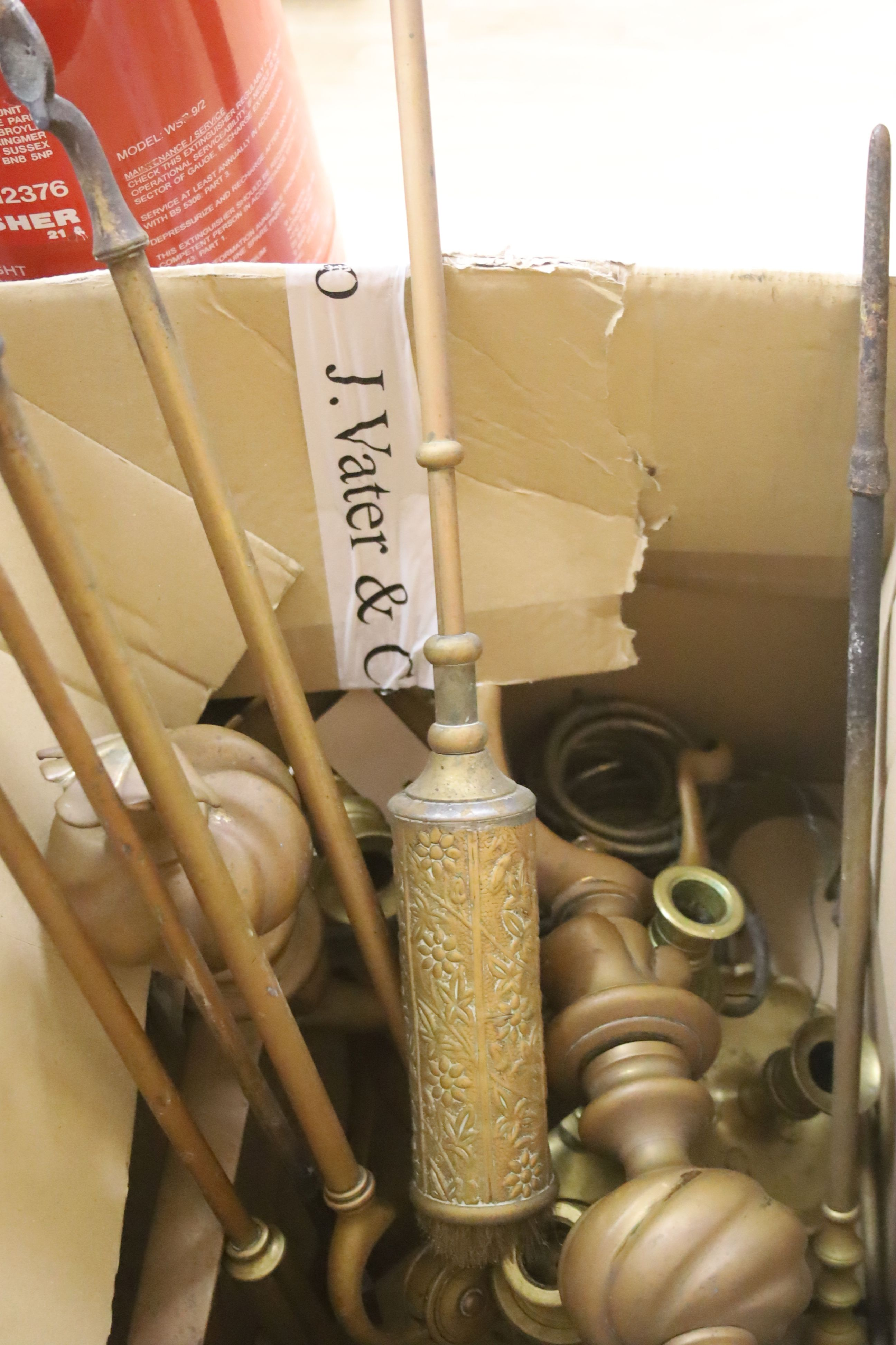 Sundry metalware, including a pair of fire dogs, various fire implements, brass chambersticks and - Image 3 of 3