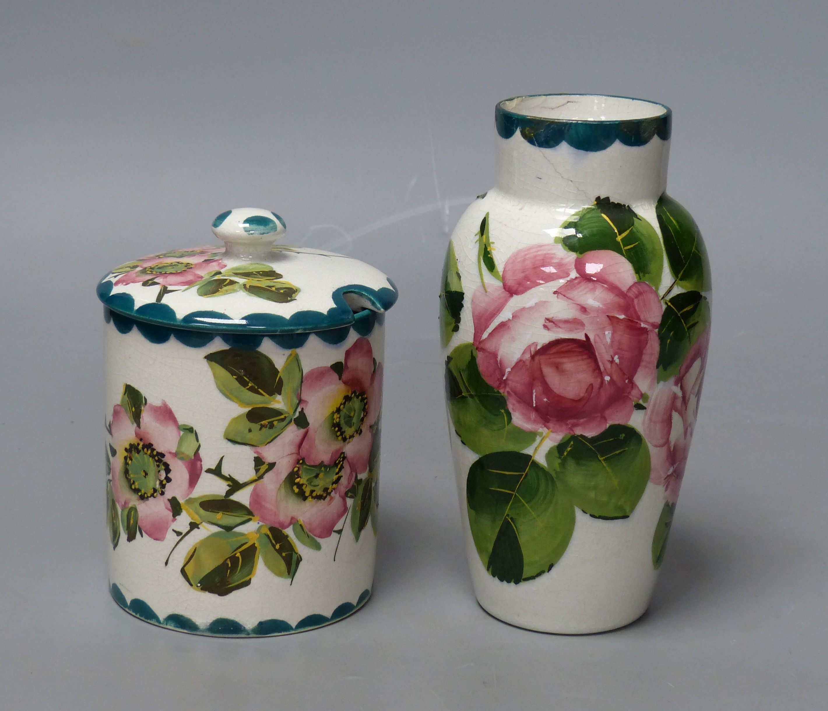 A Wemyss cabbage rose vase and an apple blossom sugar pot, tallest 16cm - Image 2 of 5