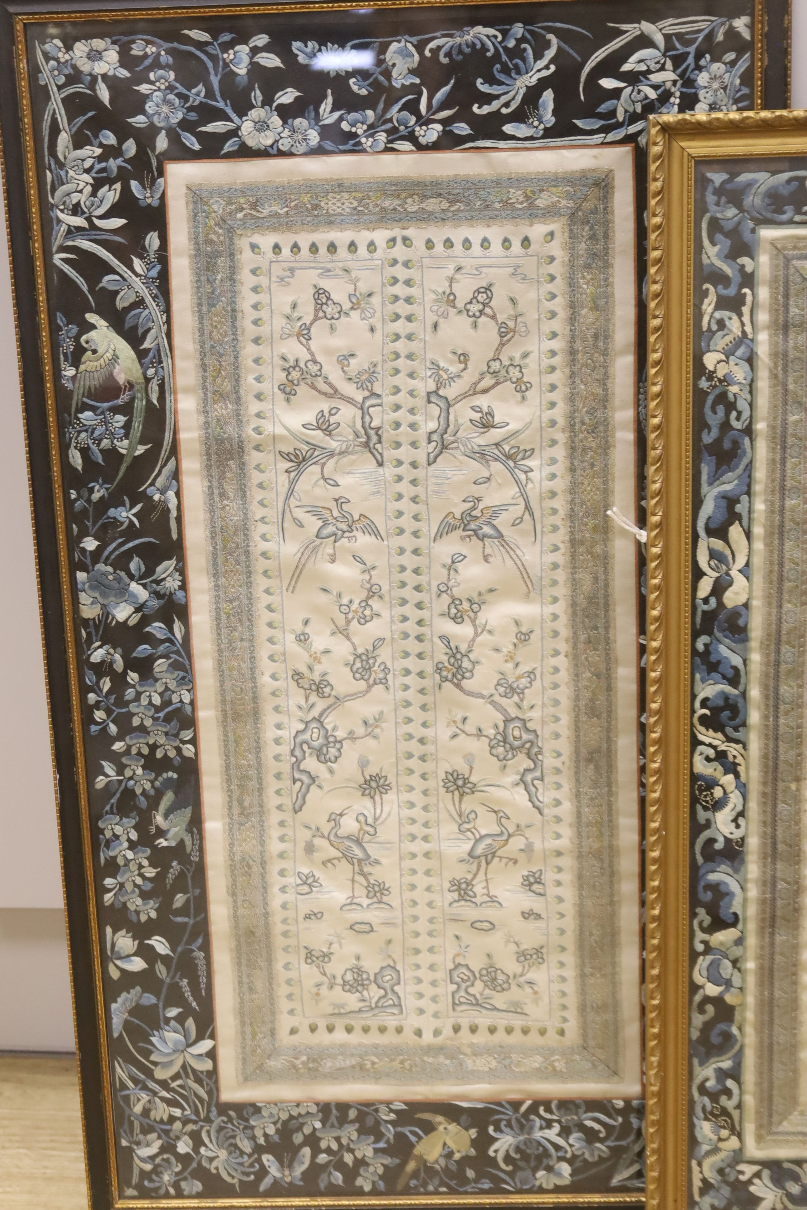 Two framed Chinese late Qing embroidered silk panels71 x 39cm & 62 x 32cm - Image 2 of 3