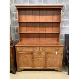 A Victorian style pitch pine dresser, length 139cm, depth 51cm, height 198cm