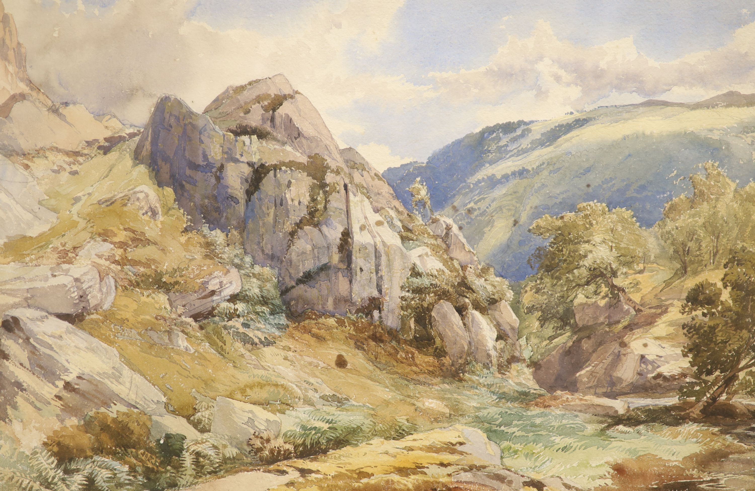 David Hall McKewan (1816-1873), pair of watercolours, A Valley in North Wales and a companion - Image 2 of 3