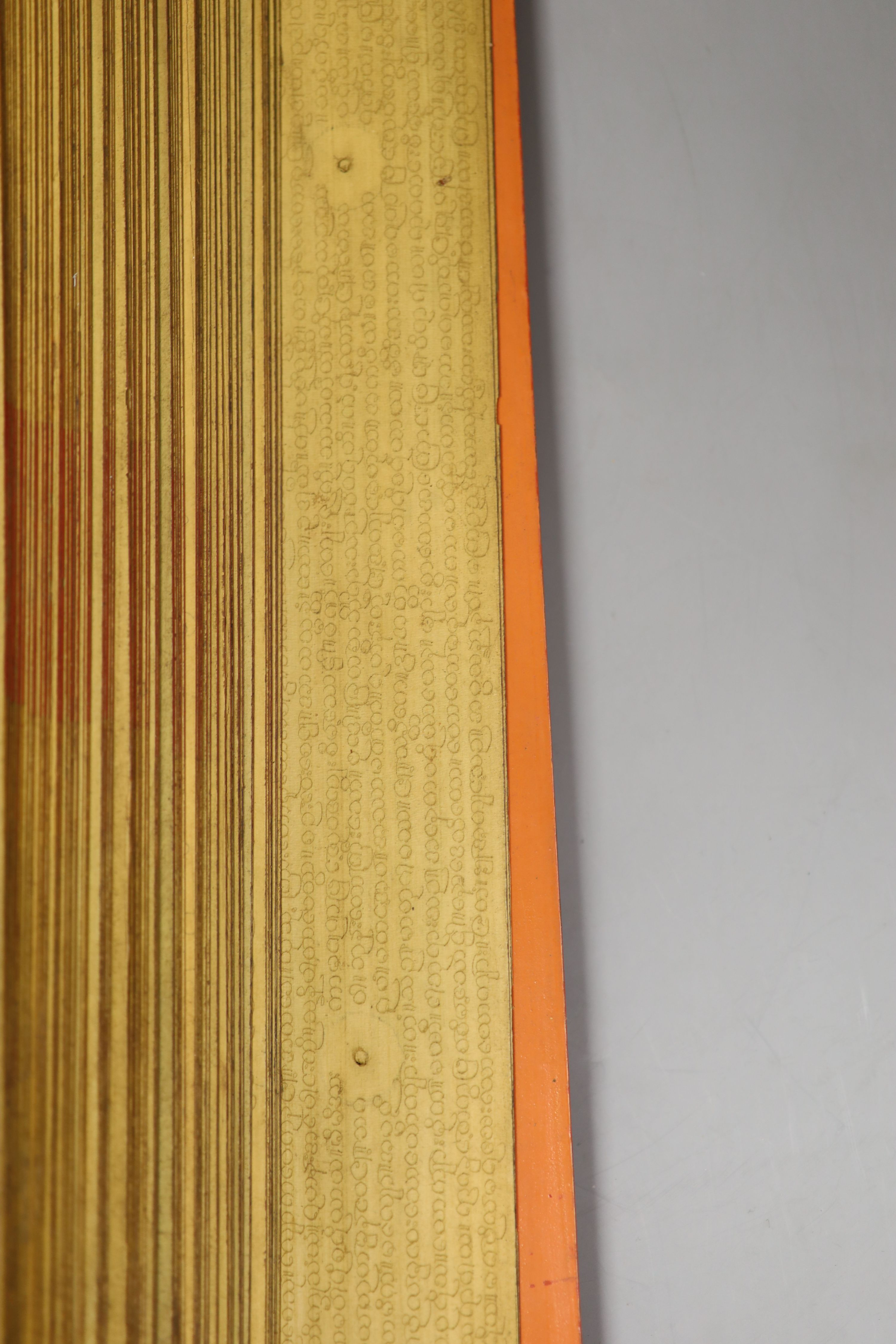 Three 19th century Burmese lacquered Sutra manuscripts, each written in Pali on bamboo leaves, gold - Image 4 of 5