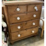A Victorian pine chest of drawers, width 89cm, depth 47cm, height 109cm