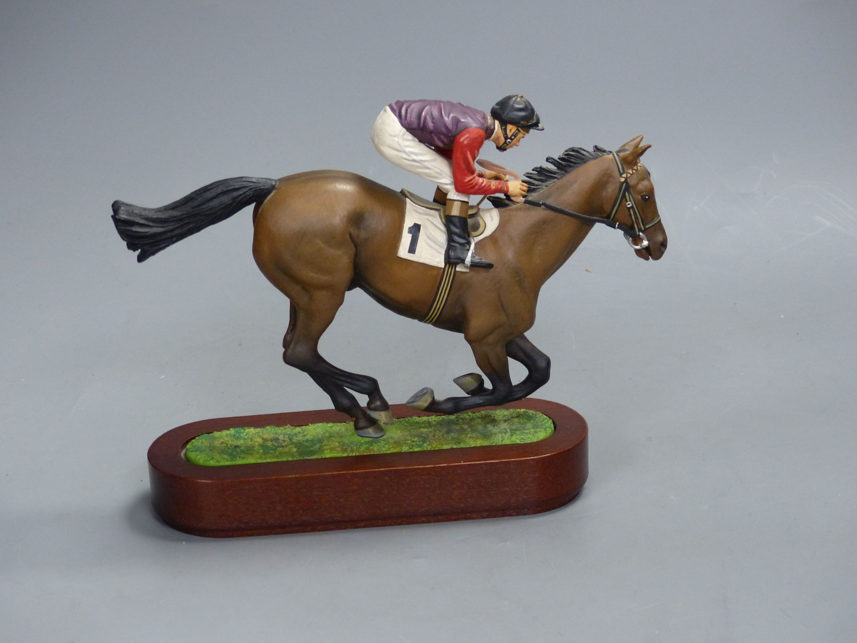 A Cameron Sculptures cold-painted bronze model of a racehorse with jockey up, height 16.5cm - Image 2 of 3