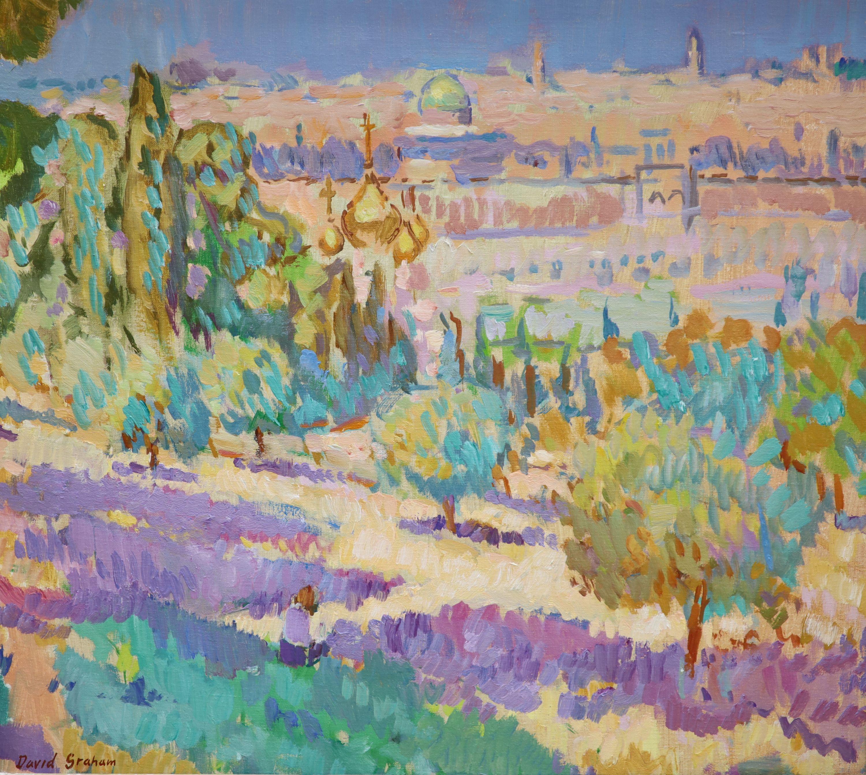 § David Graham, oil on canvas, Overlooking Jerusalem, signed, 48 x 54cm