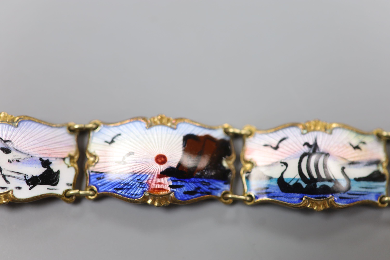 A 20th century Norwegian 830S and polychrome enamel panel set bracelet, 18.5cm,gross 28 grams. - Image 4 of 6