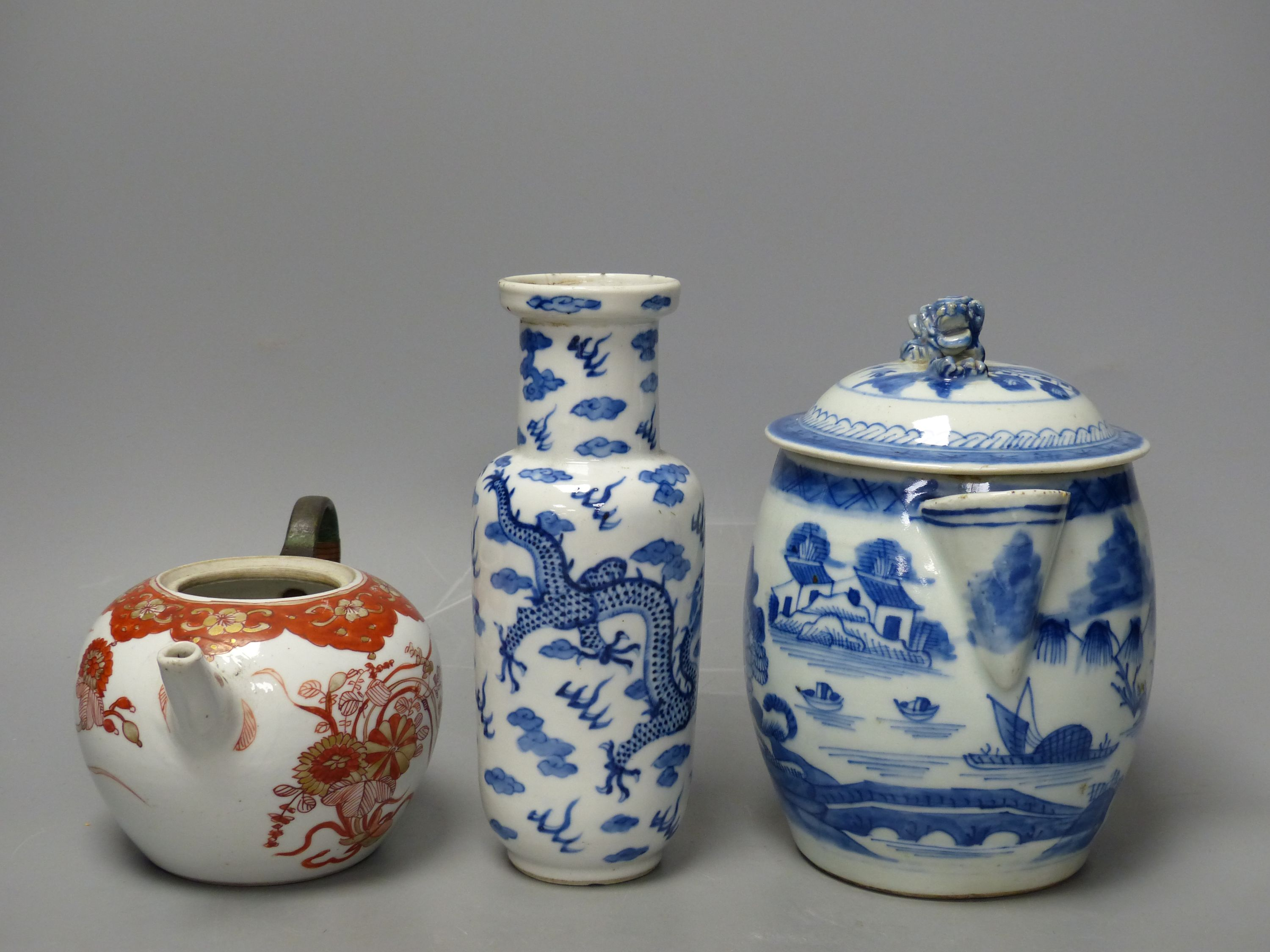 A 19th century Chinese blue and white covered jug, an early 20th century blue and white vase and a - Image 2 of 6