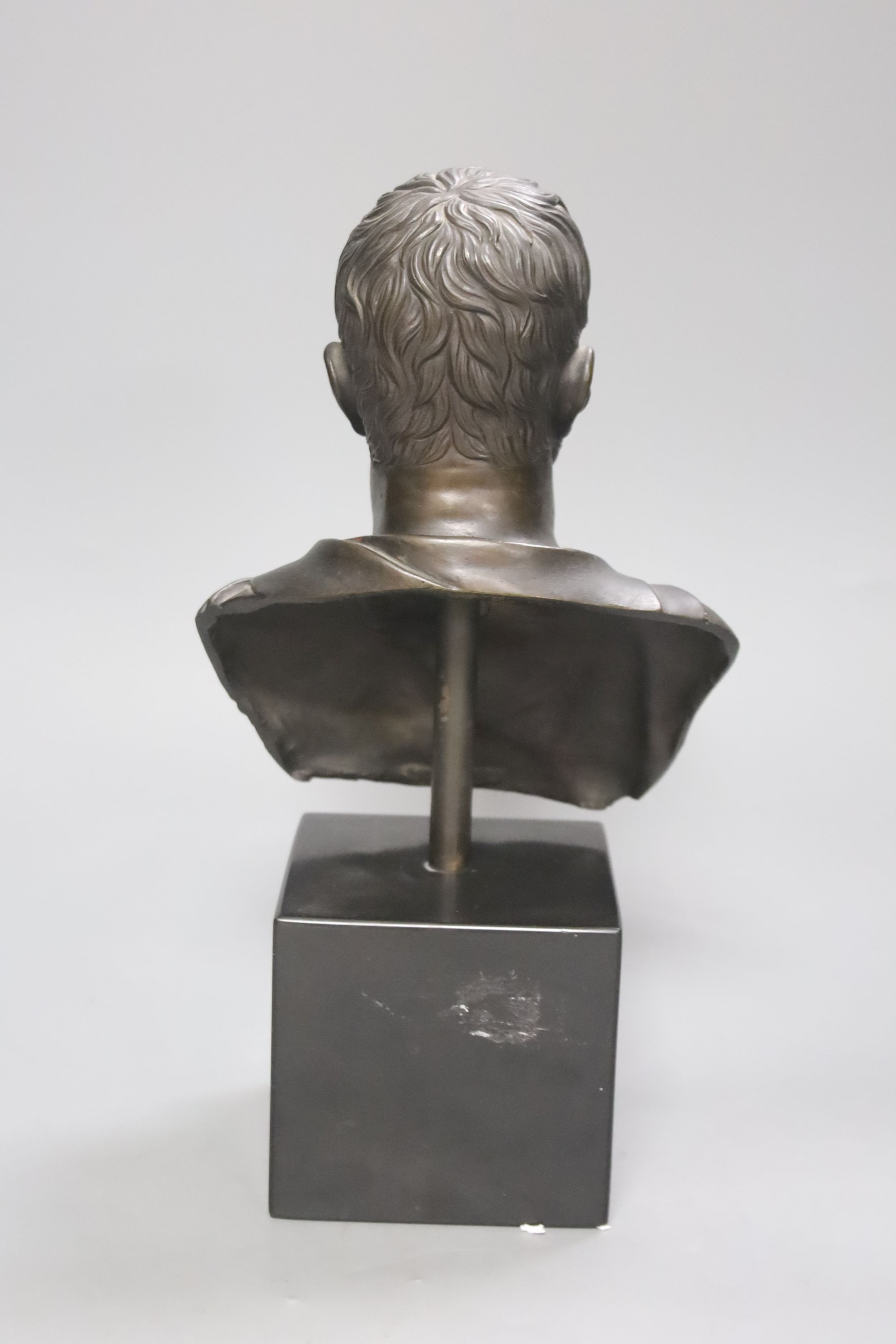 A bronze bust of a Roman Emperor, height 30cm - Image 3 of 3