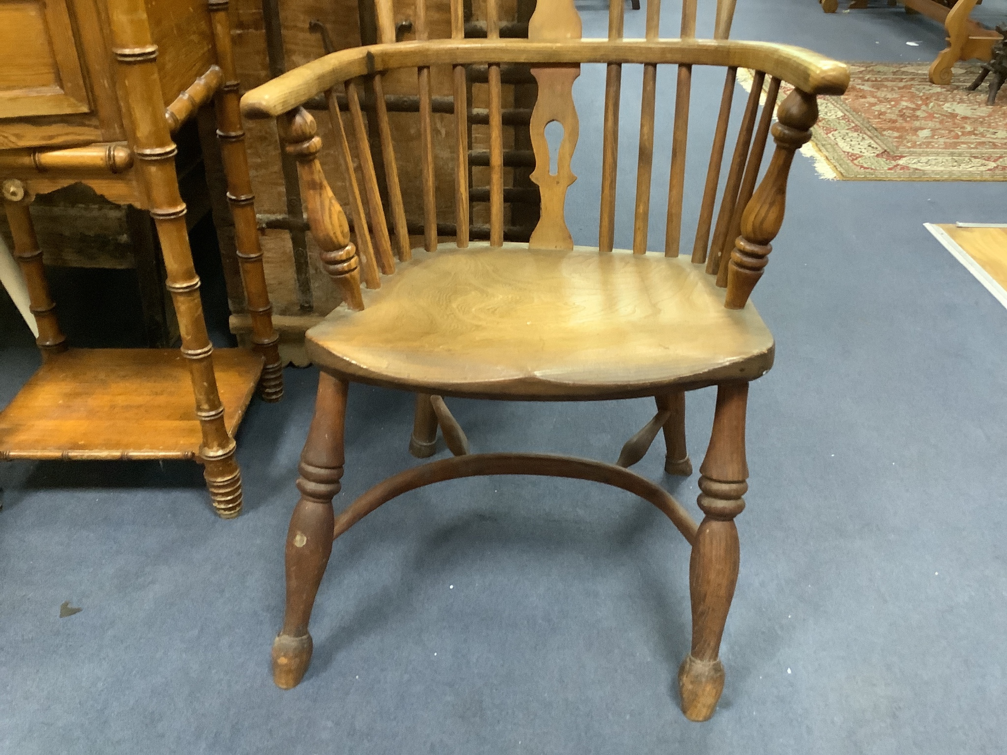 A small Victorian ash and elm Windsor elbow chair - Image 3 of 3