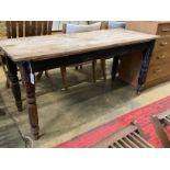 A Victorian rectangular pine kitchen table, width 150cm, depth 58cm, height 71cm