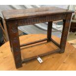 An 18th century style rectangular oak occasional table, length 74cm, depth 42cm, height 58cm