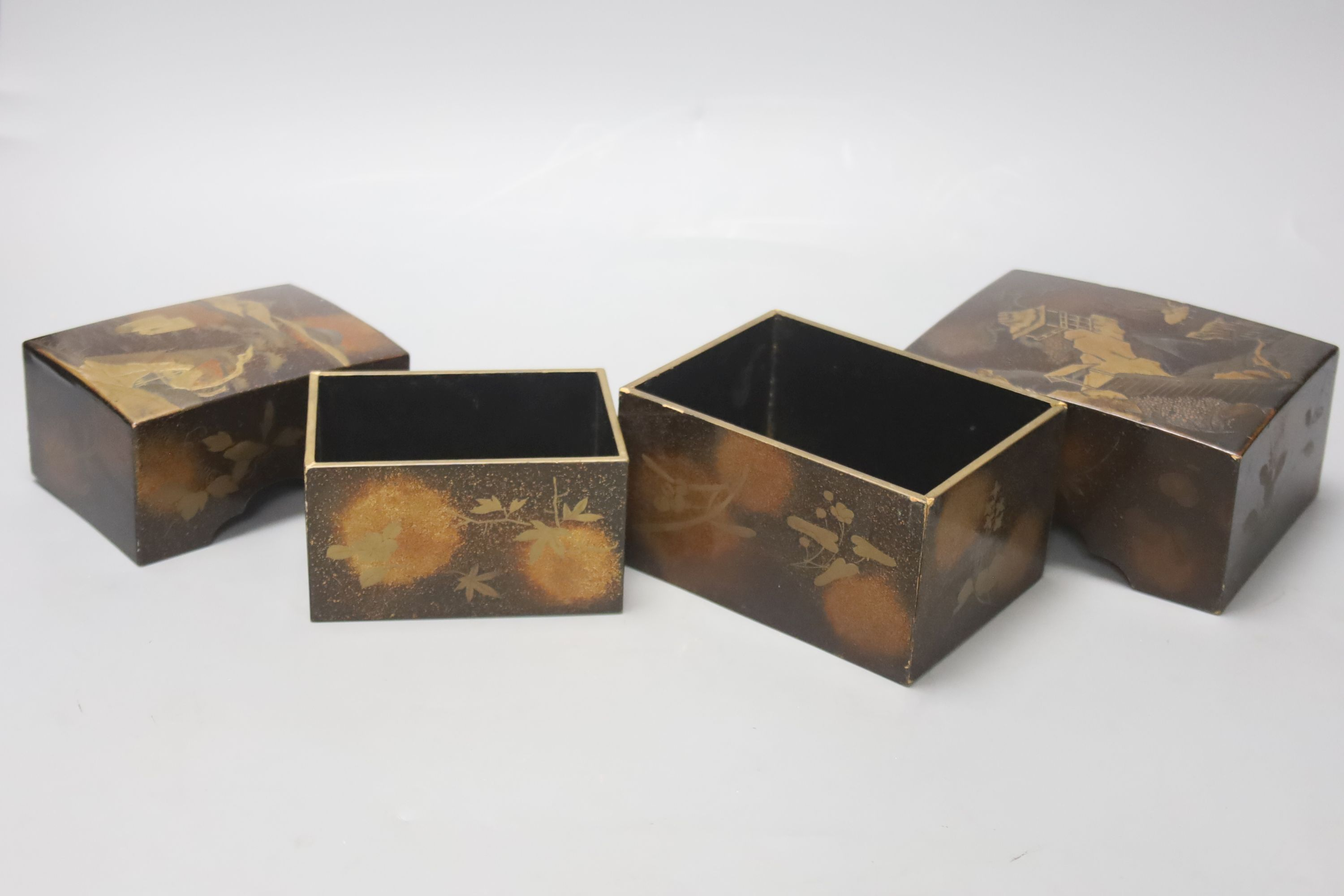 Two Japanese lacquer boxes, 19th century, largest 13.5cm - Image 3 of 4
