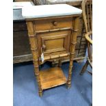 A Victorian pitch pine marble topped faux bamboo bedside cabinet, width 40cm, depth 36cm, height