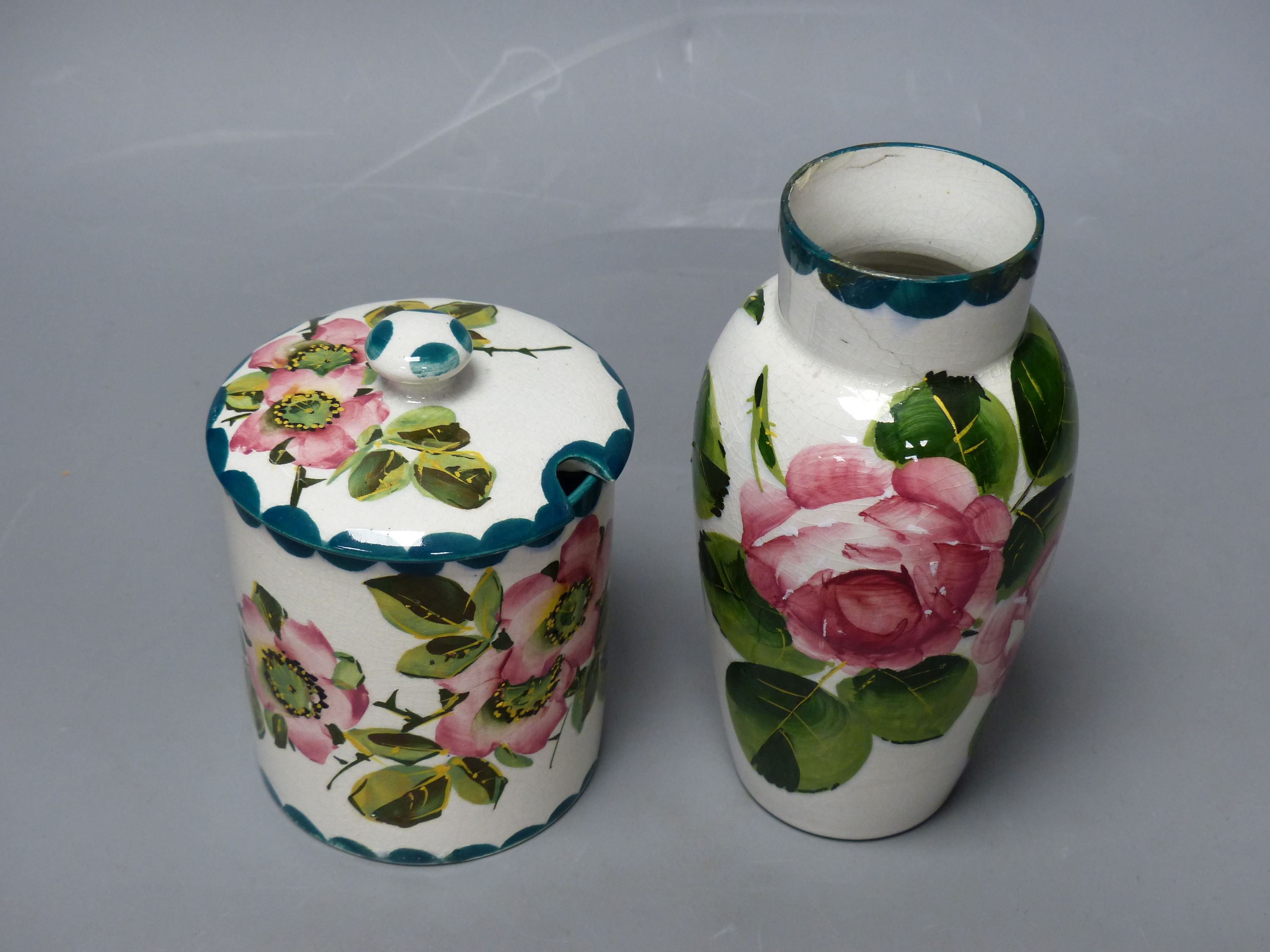 A Wemyss cabbage rose vase and an apple blossom sugar pot, tallest 16cm - Image 3 of 5