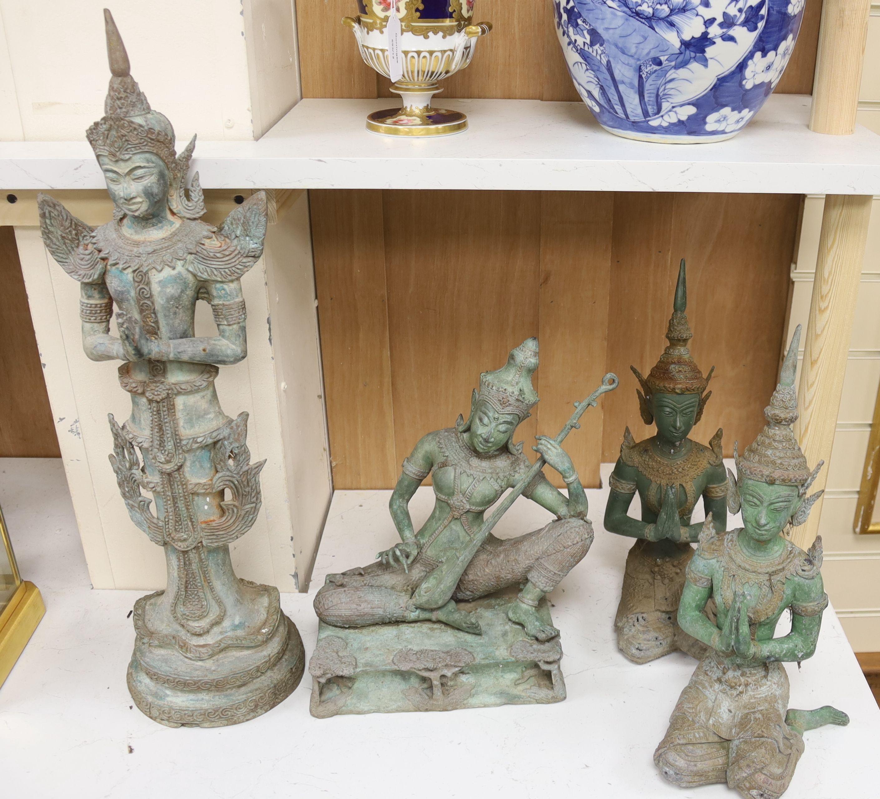 Four 20th century Thai bronze Buddhas, tallest 58cm