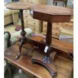 An octagonal mahogany wine / side table, width 40cm, height 74cm together with a mahogany wine