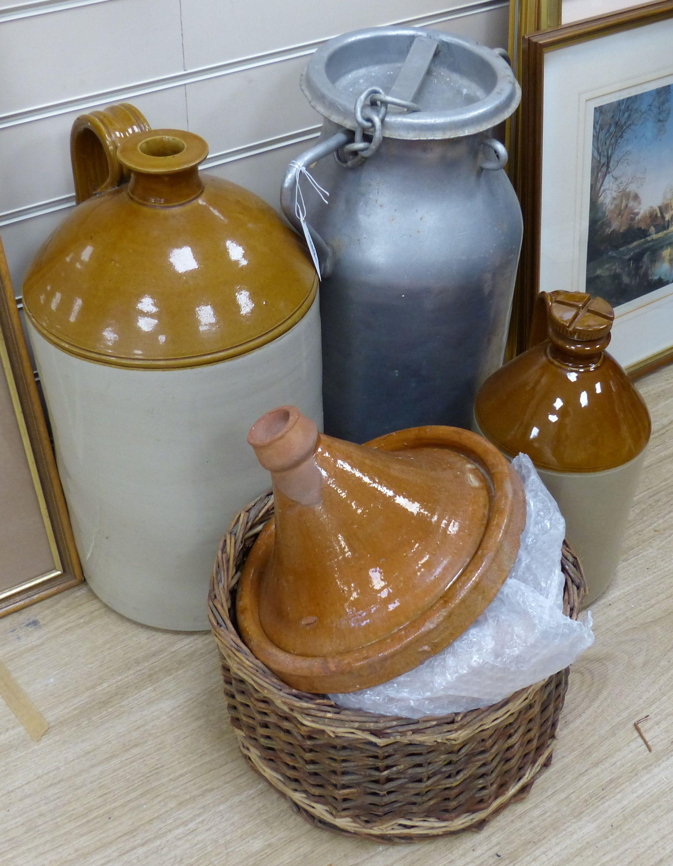 A quantity of Stoneware flagons etc