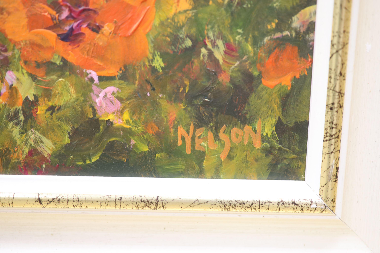 Allan Nelson, acrylic on board, 'Poppy Scene', signed, with COA, 40 x 50cm - Image 3 of 5