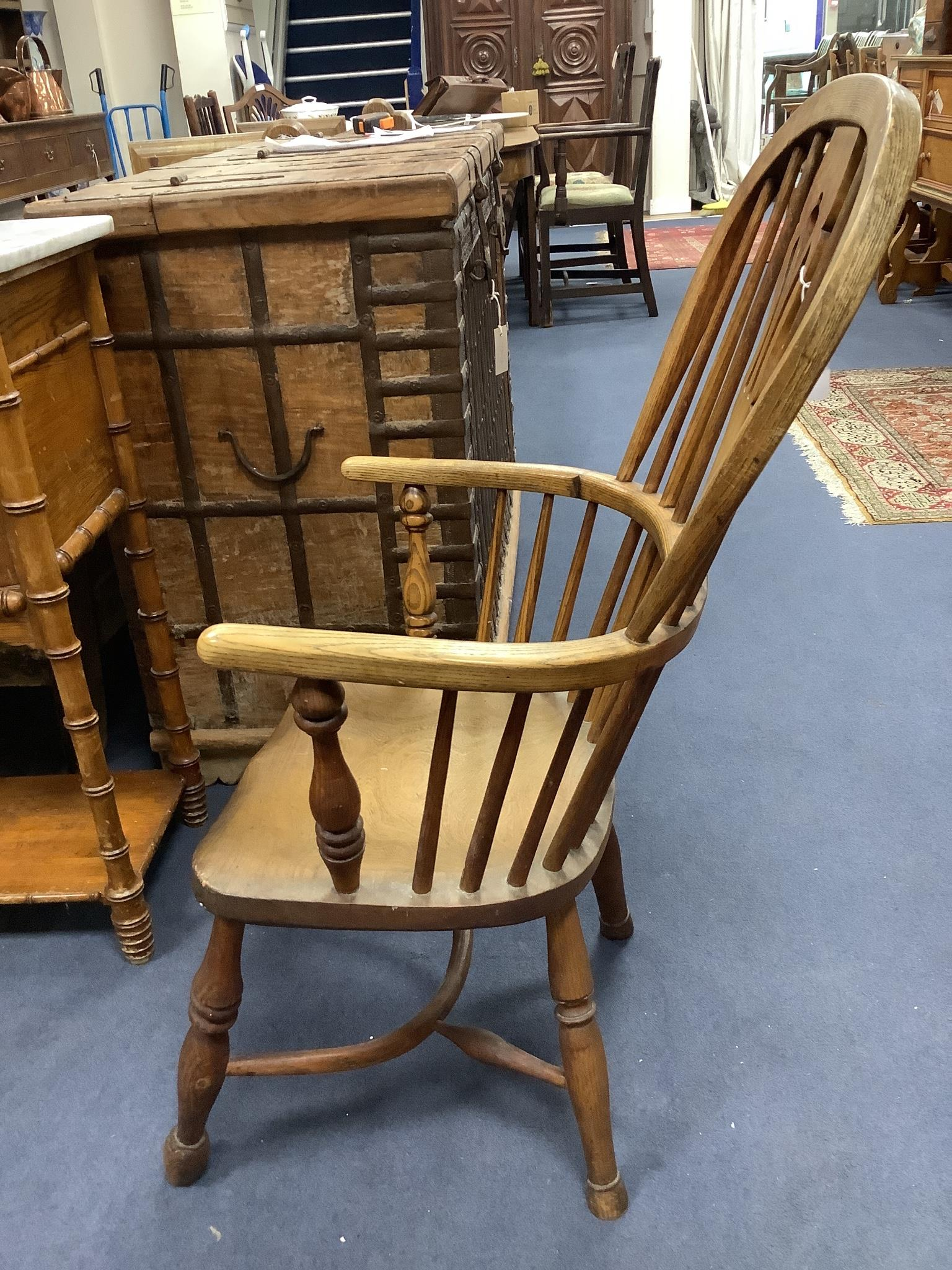 A small Victorian ash and elm Windsor elbow chair - Image 2 of 3