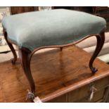 A Victorian rosewood dressing stool, length 54cm, depth 50cm, height 41cm