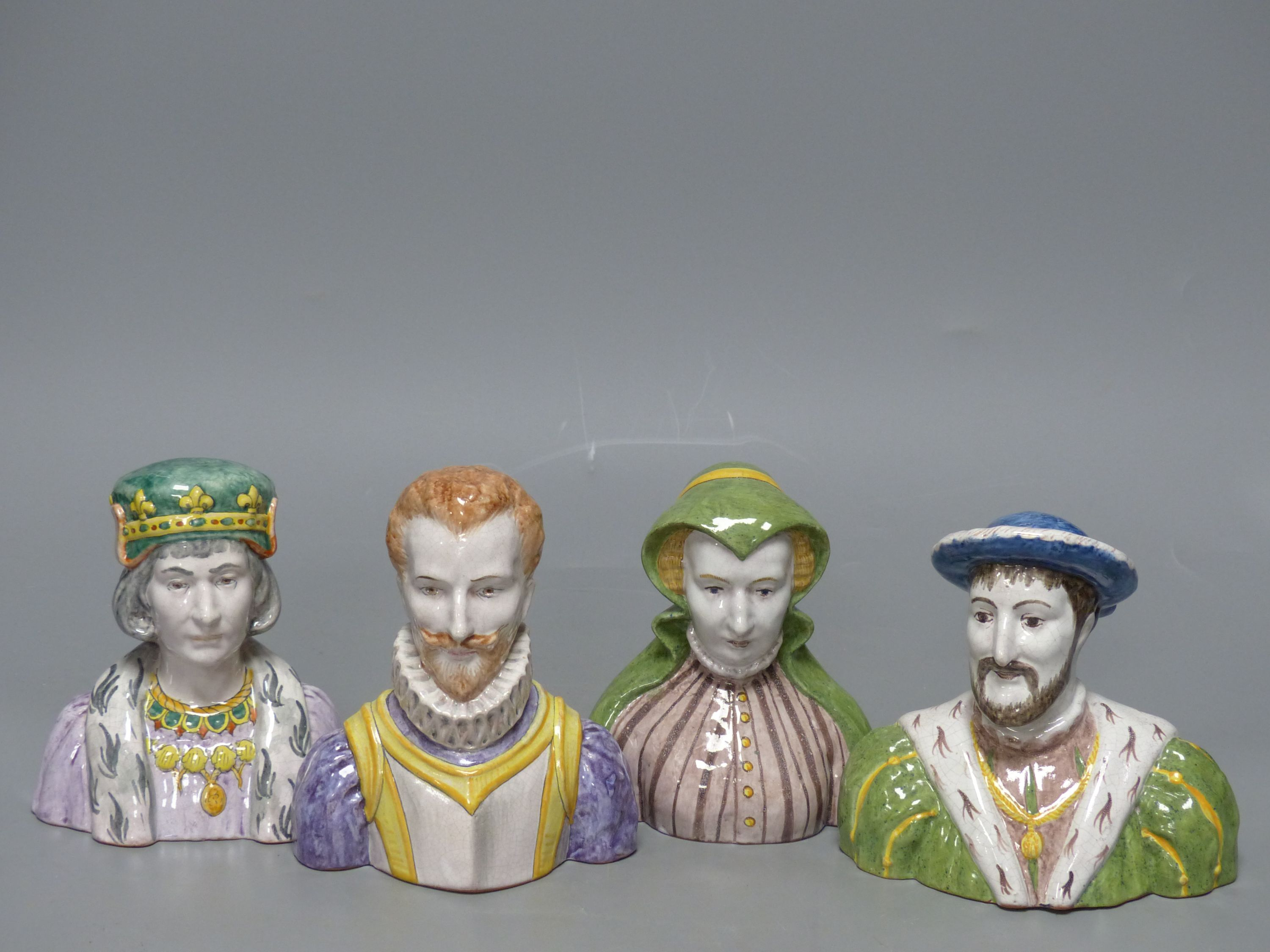 A French tin-glazed faience small bust of Catherine de Medici, another of Francois I and two - Image 2 of 5
