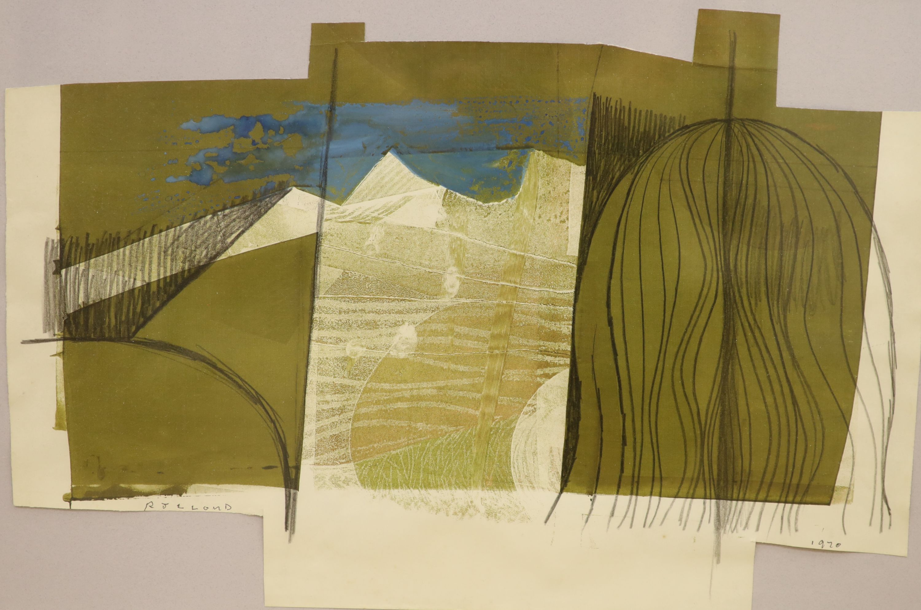 R. J. Lloyd, mixed media, Abstract landscape, signed and dated 1970, 35 x 51cm