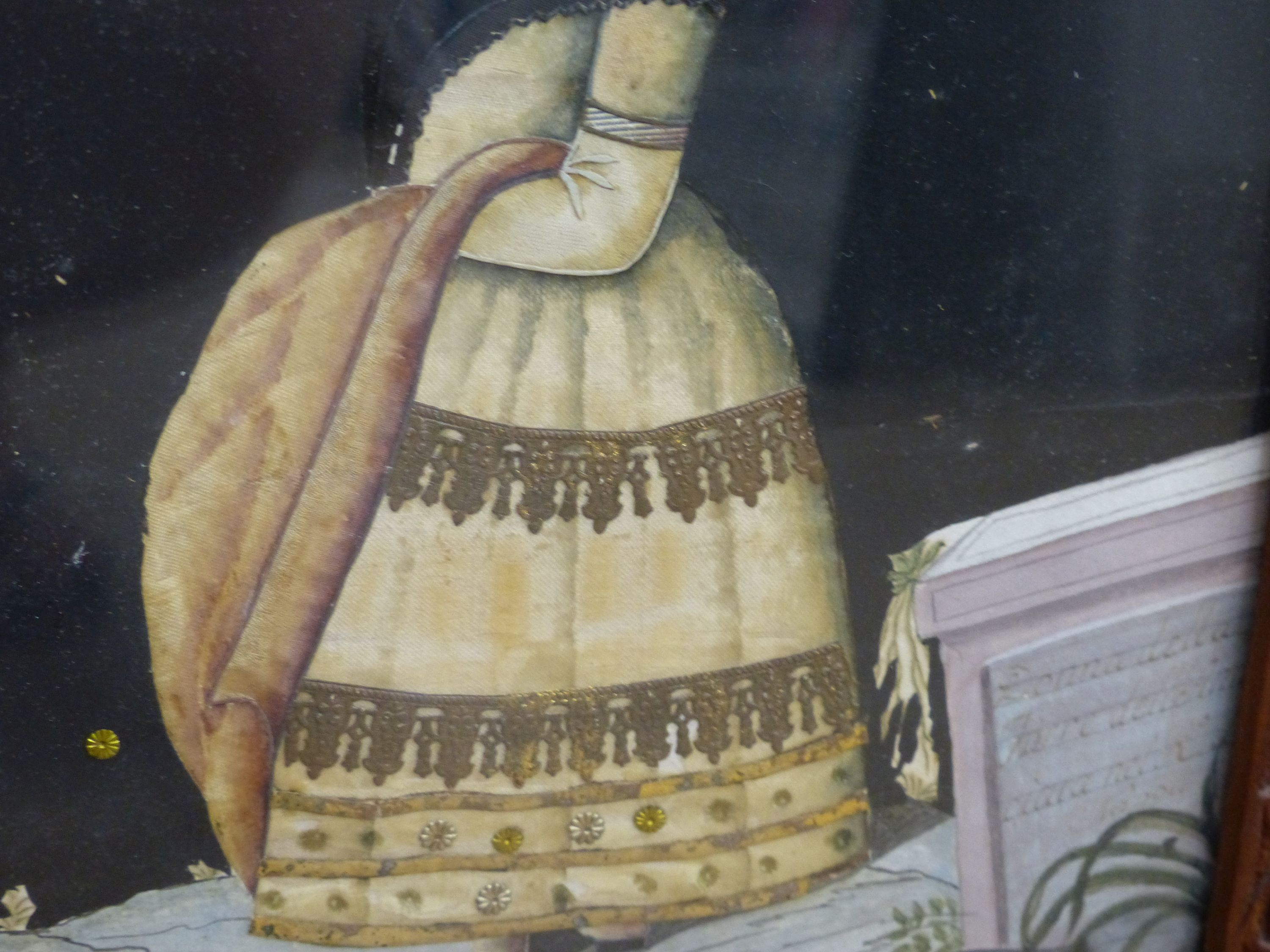 An early 19th century painted silk and gilt metal portraitdepicting a young woman wearing - Image 4 of 7
