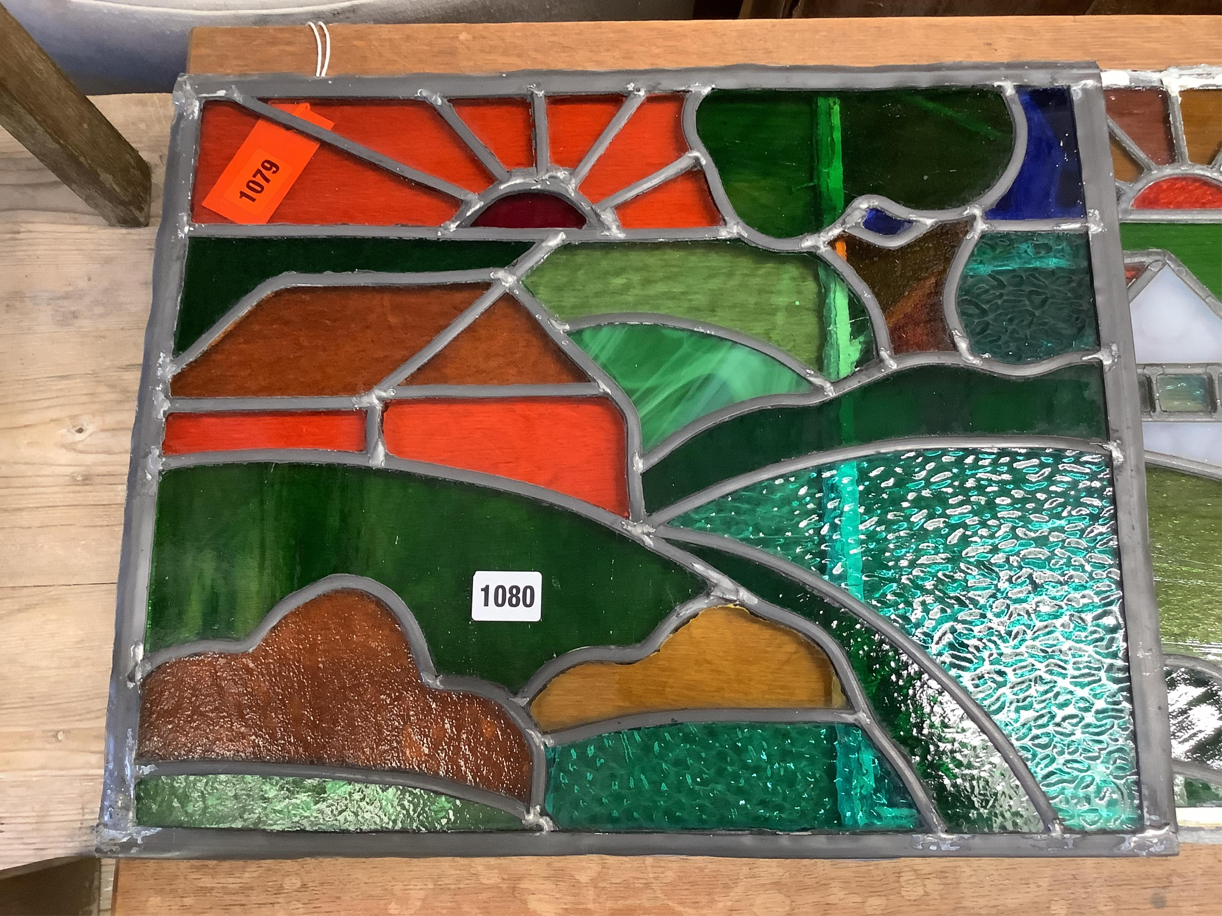 Two leaded stained glass panels, 46 x 38cm - Image 2 of 3