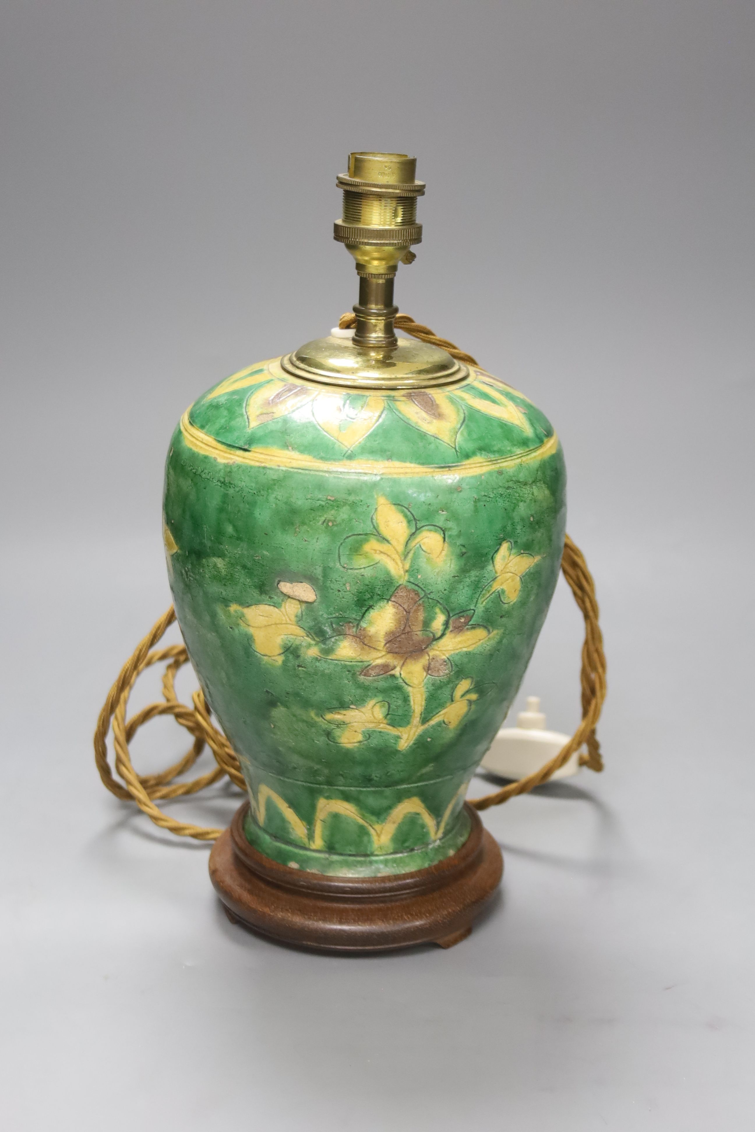 A Chinese sancai jar, Ming dynasty, mounted as a lamp, overall 30cm