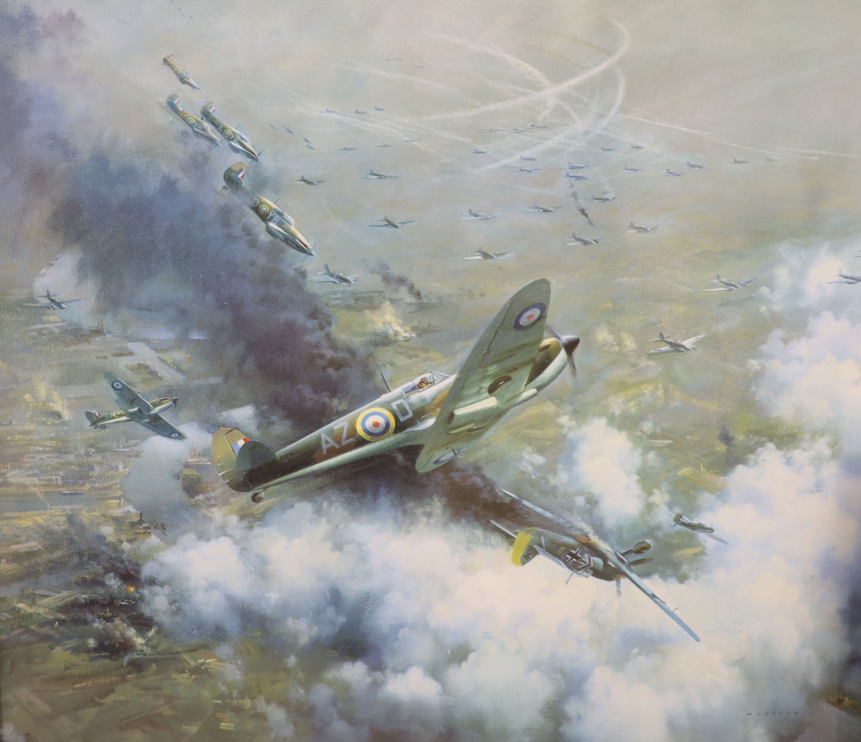 After Frank Wootton, limited edition coloured print, 'Battle Over London 1940', signed in pencil - Image 3 of 4