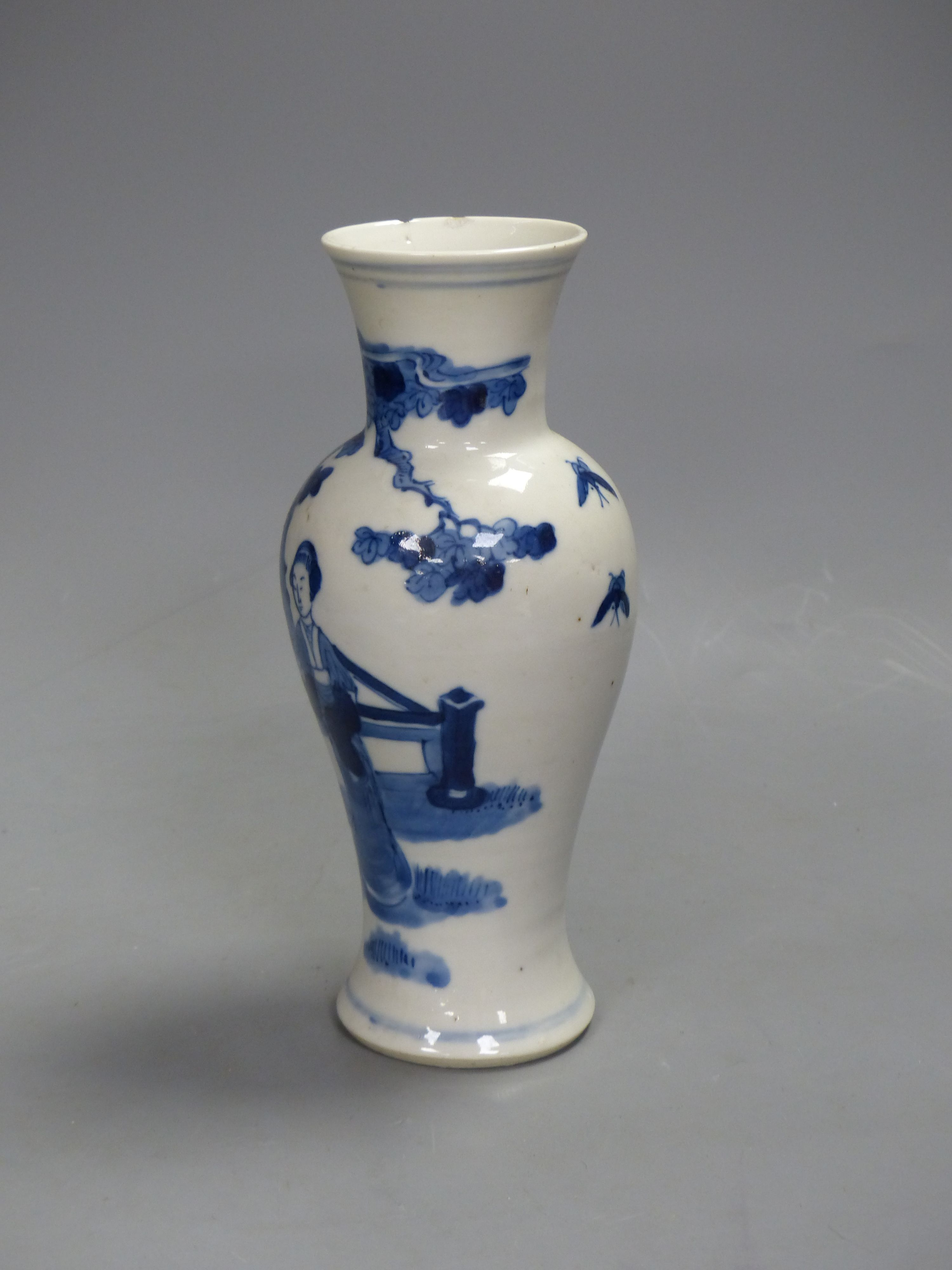 A 19th century Chinese blue and white vase, height 21cm - Image 2 of 4