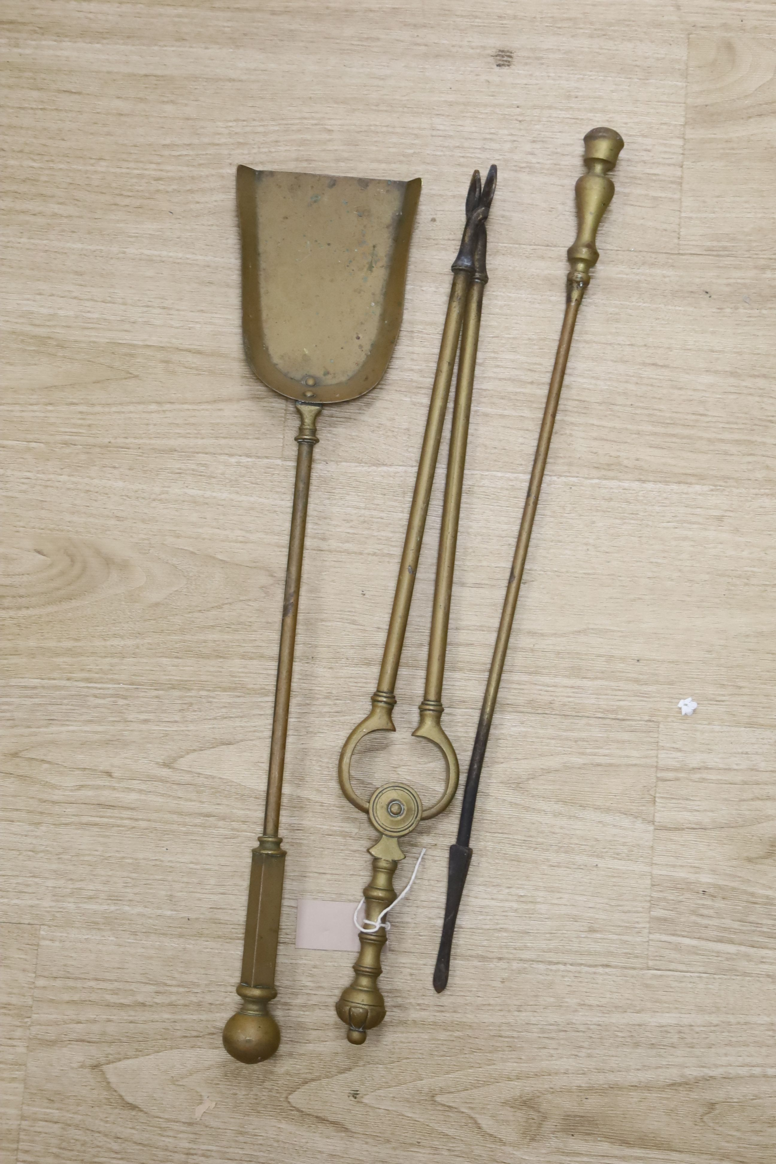 Sundry metalware, including a pair of fire dogs, various fire implements, brass chambersticks and - Image 2 of 3