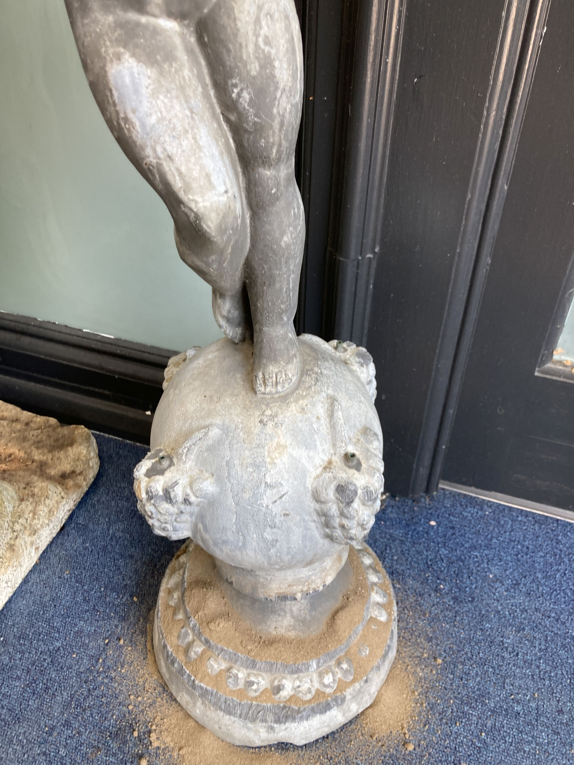 A Victorian lead garden ornament of a putto on orb, height 80cm - Image 3 of 5