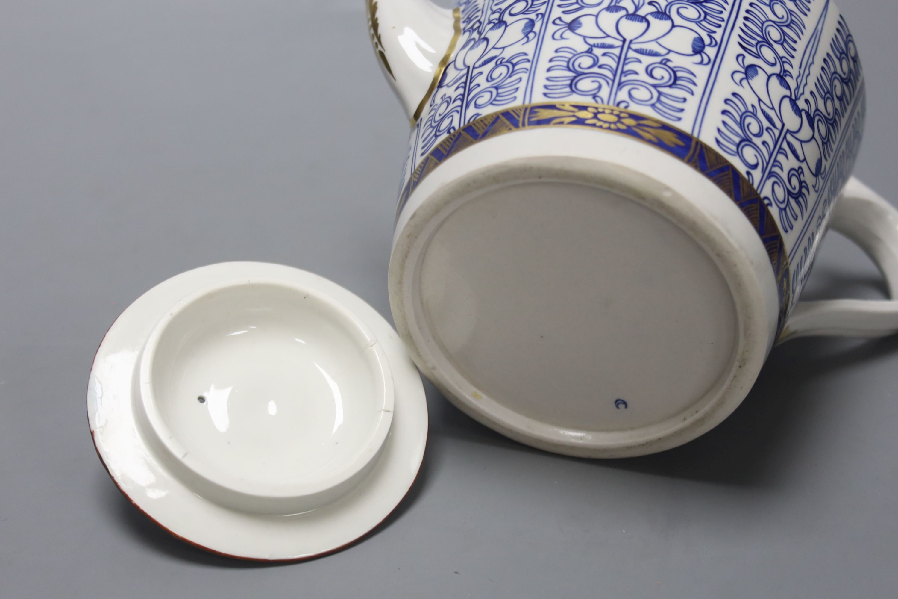 A Royal Worcester late Dr Wall / early Flight teapot and cover, Lily pattern, height 14cm - Image 4 of 4