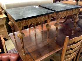 A pair of square giltwood side tables with variegated black marble tops, width 45cm, height 49cm