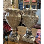 A pair of Italian style carved wood table lamps, height 46cm