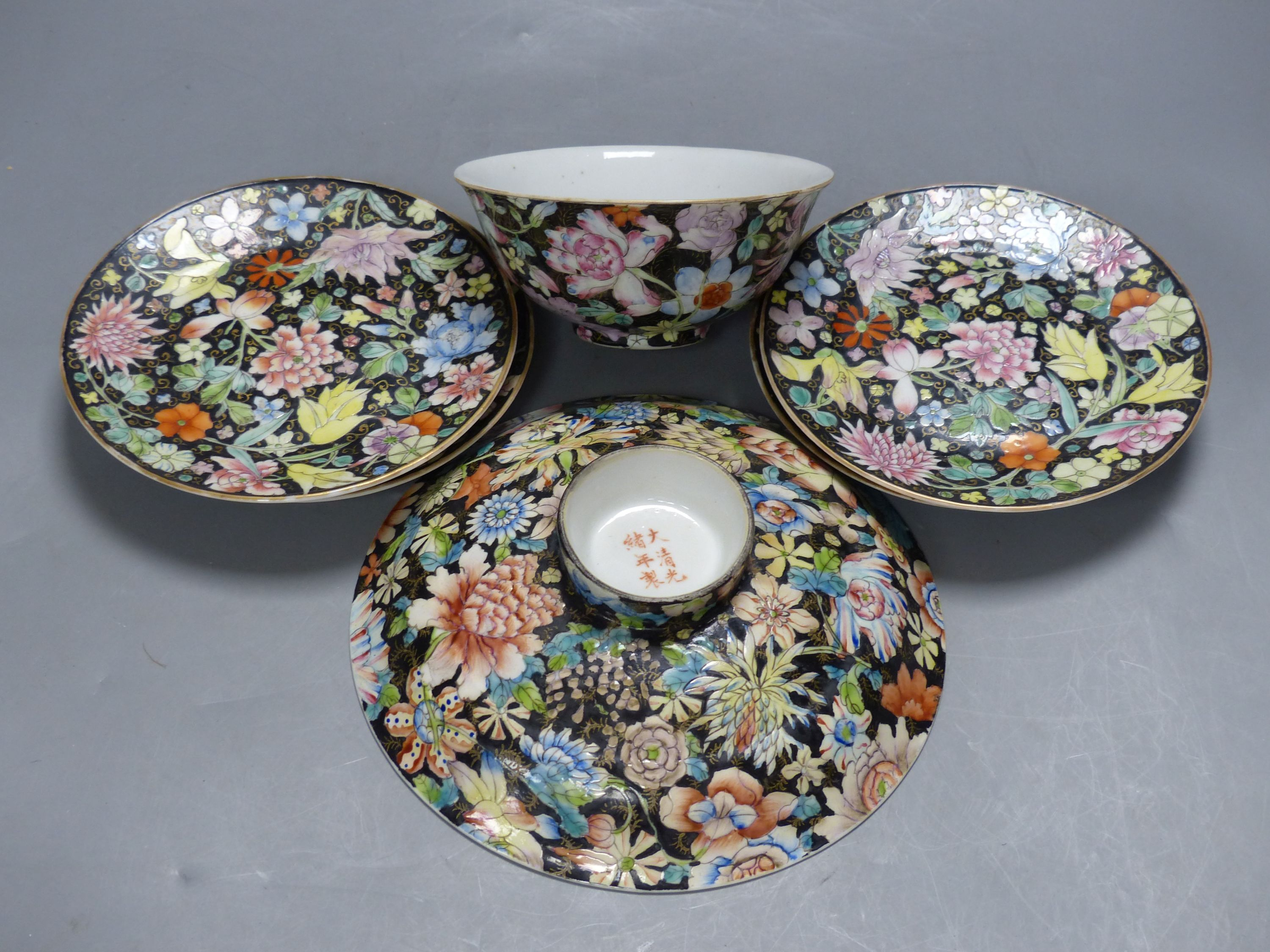 A Chinese millefleur bowl, rice bowl, cover and four plates, Guangxu mark, early 20th century - Image 2 of 4